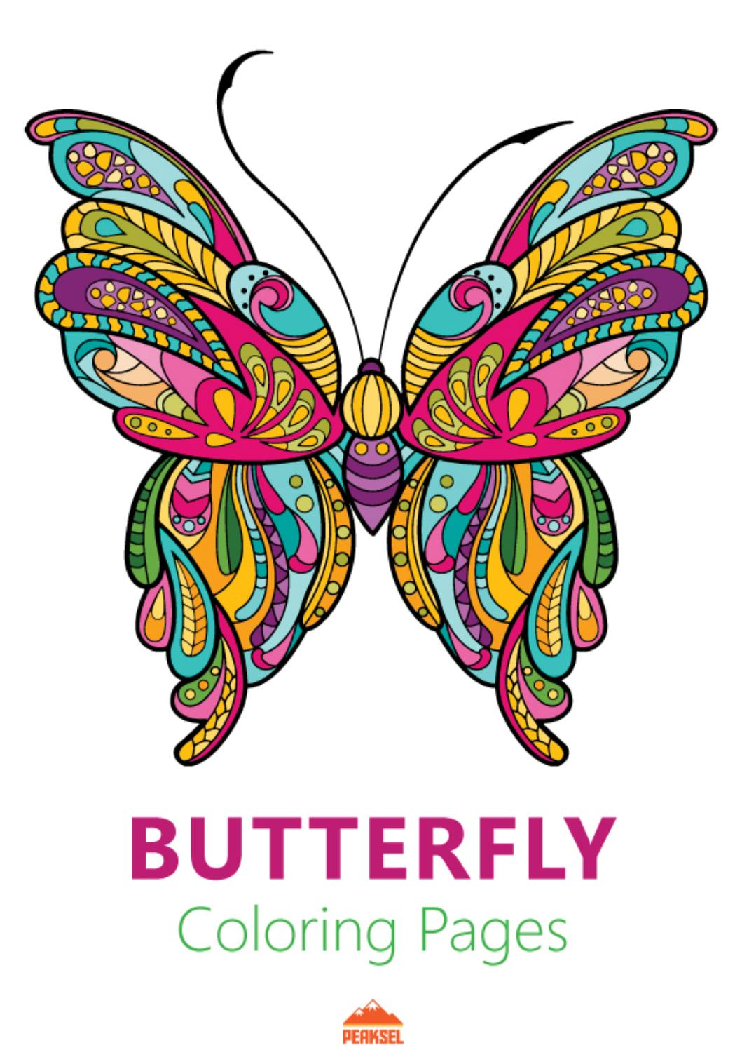 Adult butterfly coloring pages pdf by Evlyn - Issuu