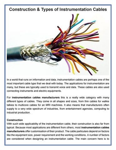 Construction & types of instrumentation cables by Ultracab - issuu
