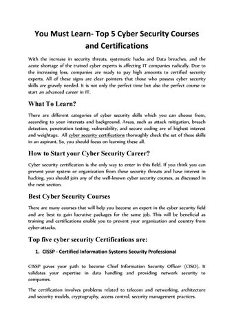 You Must Learn Top 5 Cyber Security Courses And Certifications by ...