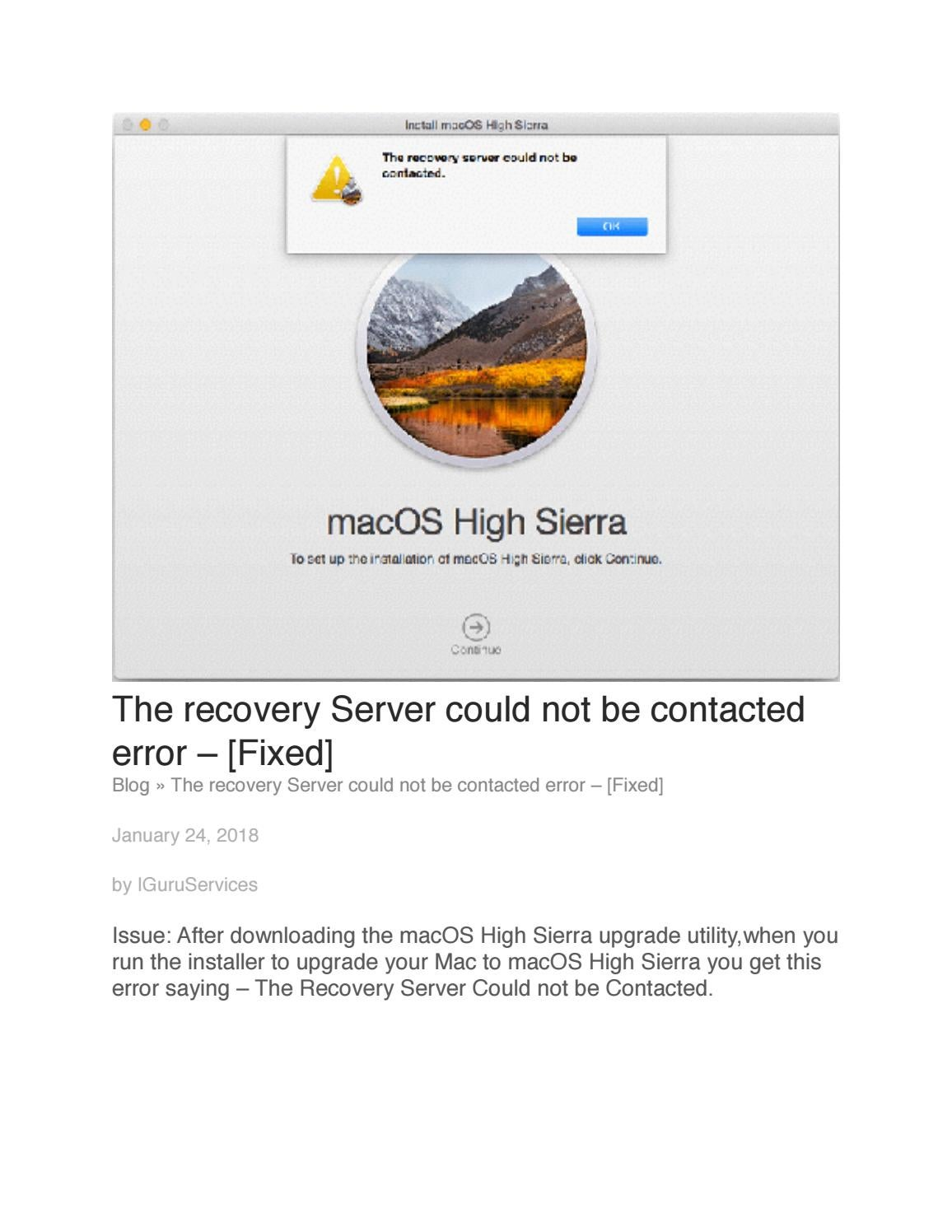 The Recovery Server Could Not Be Contacted Macos High Sierra