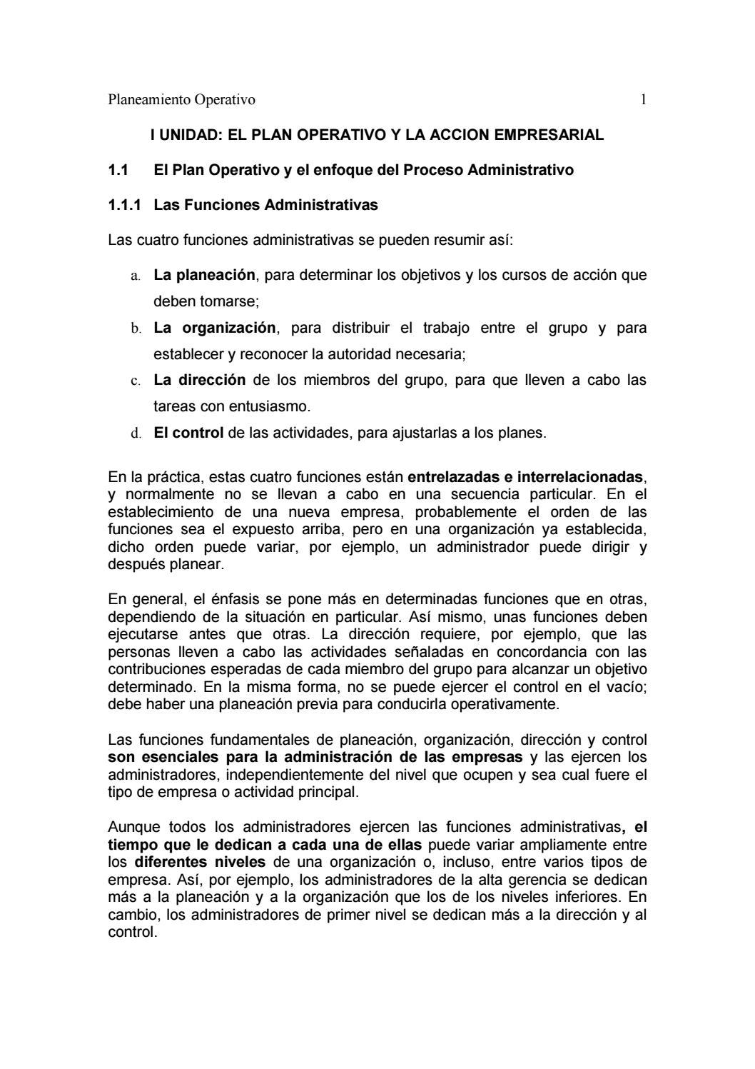 1 el plan operativo y la accion empresarial by thaylor - issuu