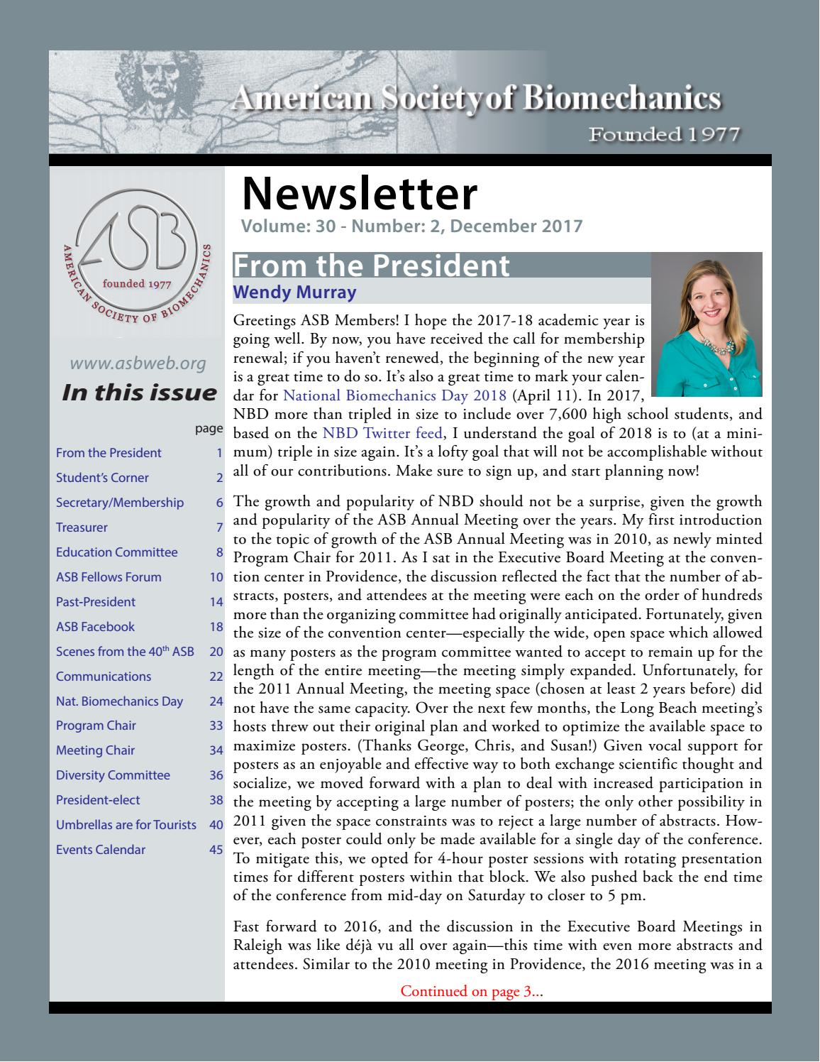 American Society of Biomechanics Newsletter by ASB web - issuu