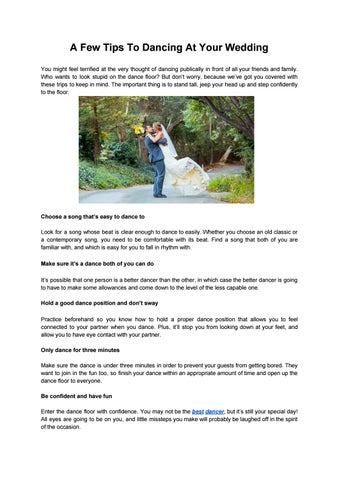 A Few Tips To Dancing At Your Wedding You Might Feel Terrified The Very Thought Of Publically In Front All Friends And Family