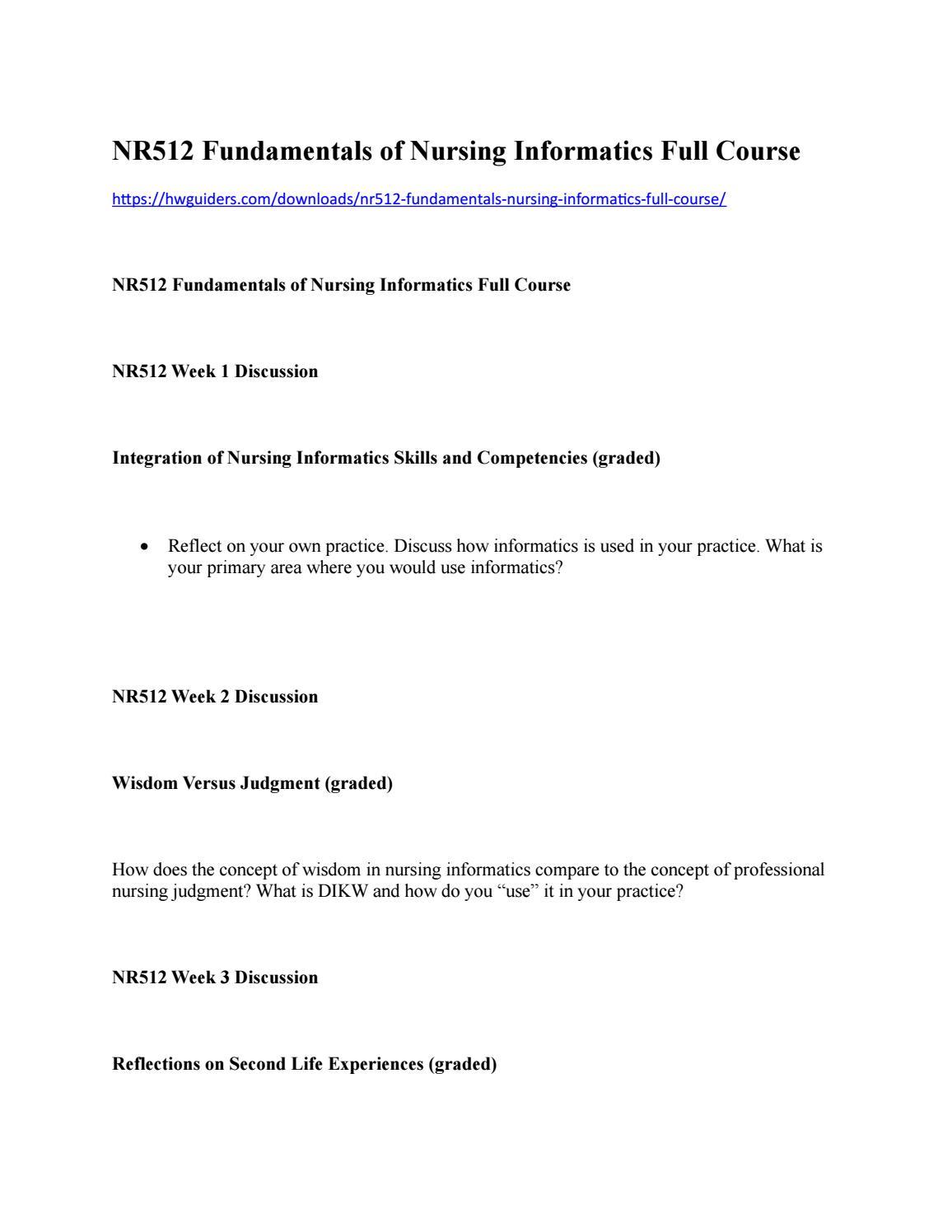 Nr512 Fundamentals Of Nursing Informatics Full Course By