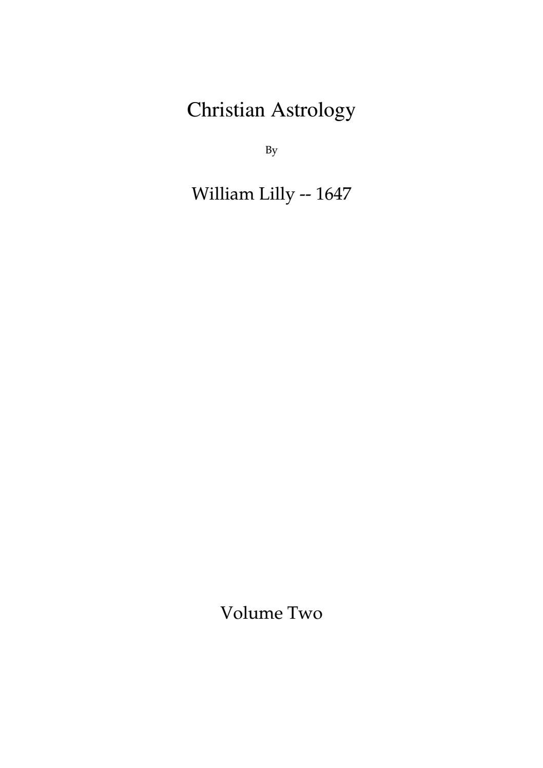 William lilly christian astrology book ii by