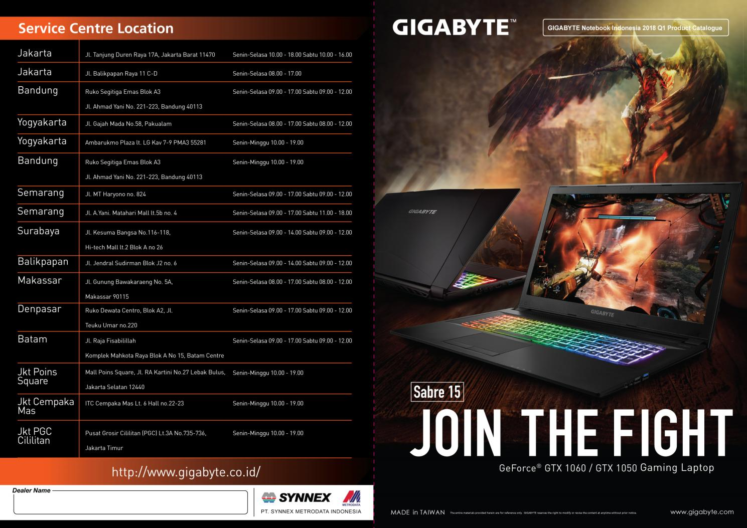 2018 gigabyte notebook indonesia q1 catalogue by GIGABYTE