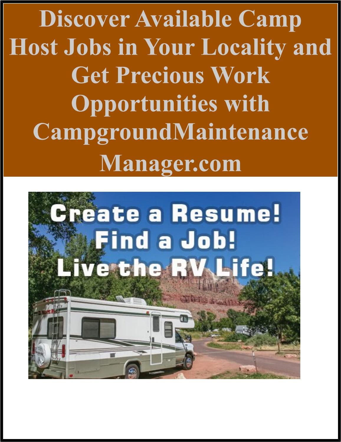 Discover Available Camp Host Jobs in Your Locality and Get Precious Work Opportunities