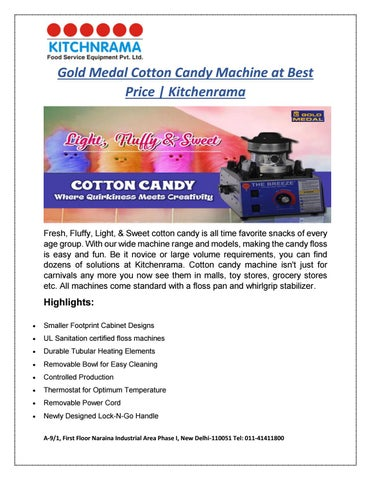 Incroyable Gold Medal Cotton Candy Machine At Best Price | Kitchenrama