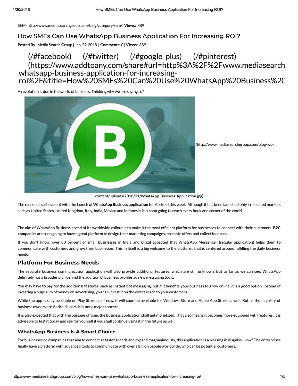How Smes Can Use Whatsapp Business Application For Increasing Roi By Digitalmarketingmsg Issuu