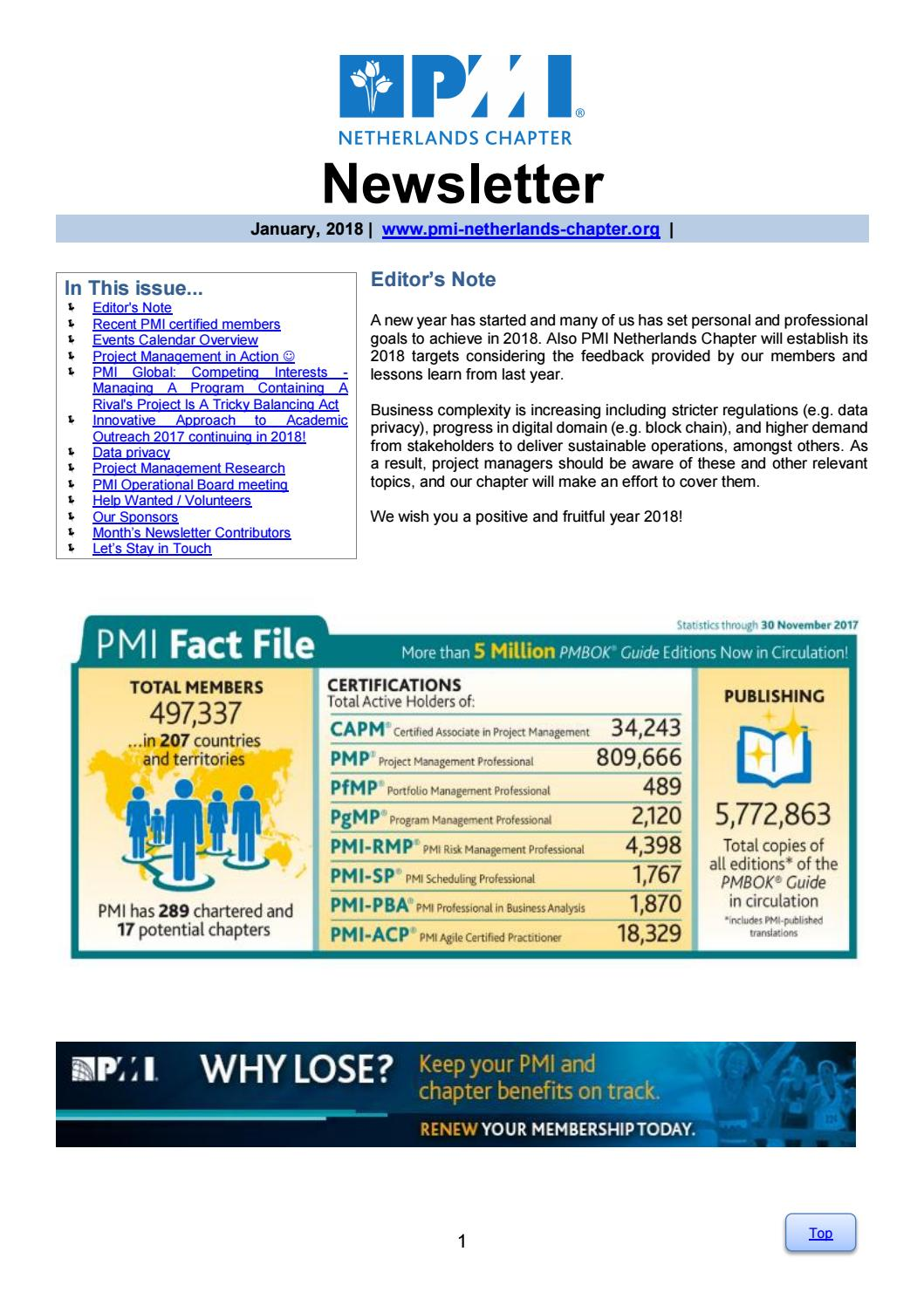 January 2018 Newsletter By Pmi Netherlands Chapter Issuu