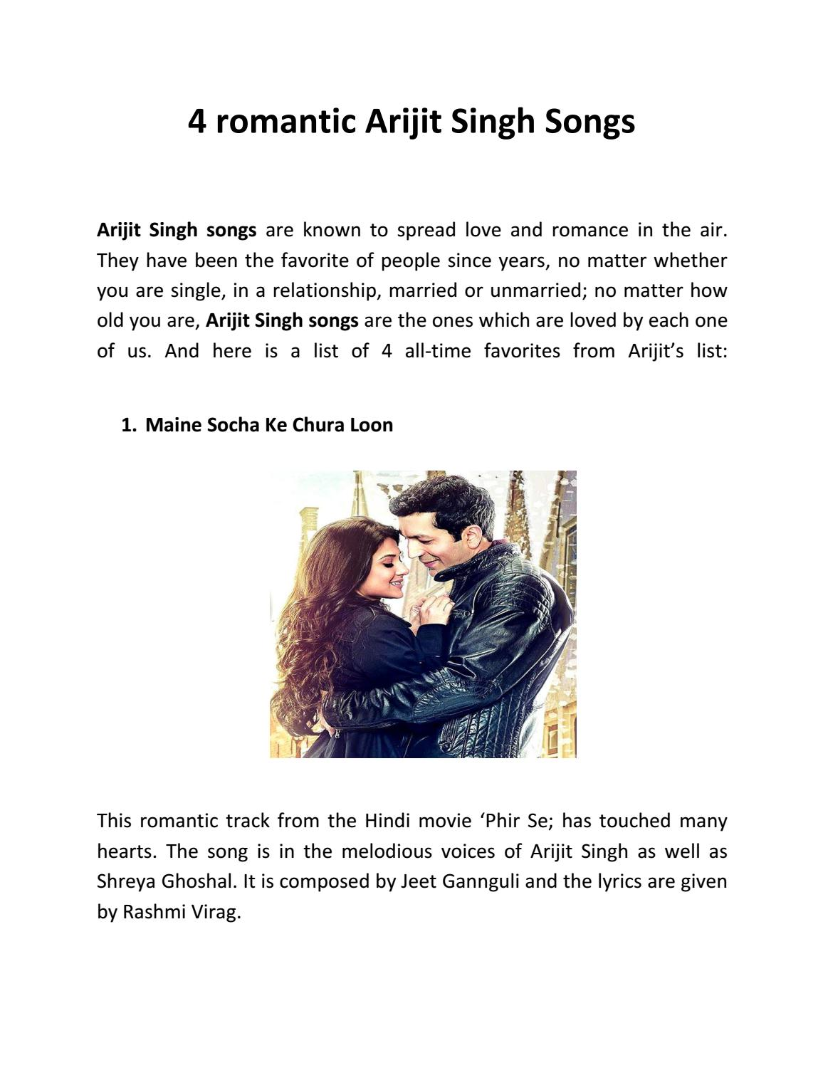 4 Romantic Arijit Singh Songs By Pagalworld Issuu No one, not even singh himself. 4 romantic arijit singh songs by