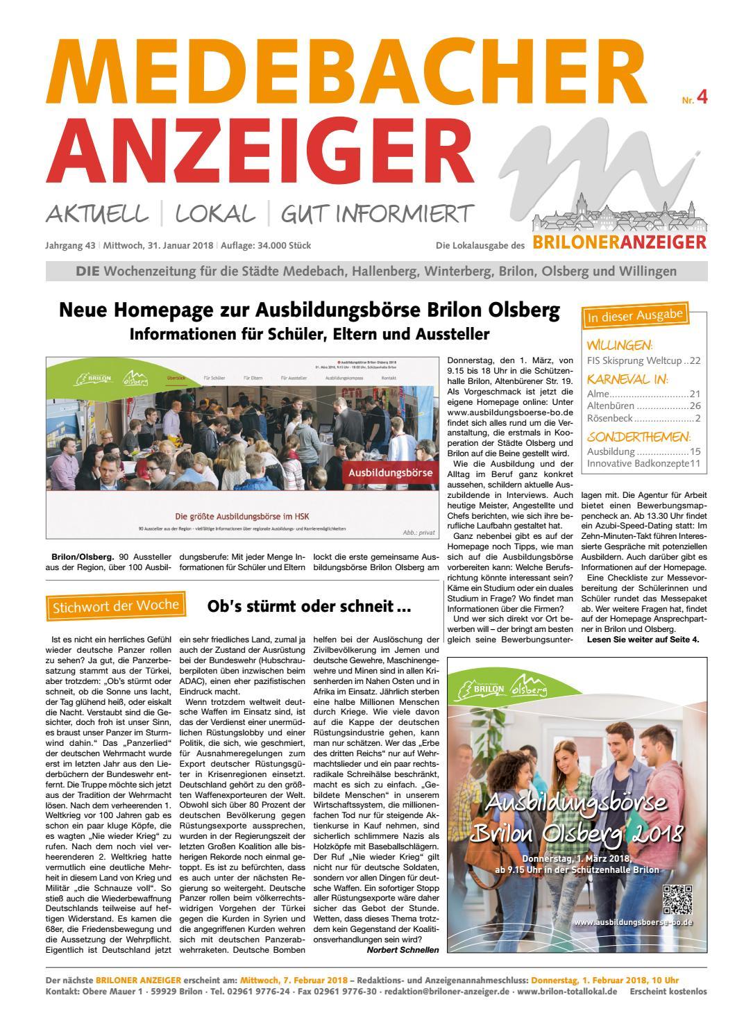 Medebacher Anzeiger Ausgabe vom 31.01.2018 Nr.04 by Brilon-totallokal -  issuu