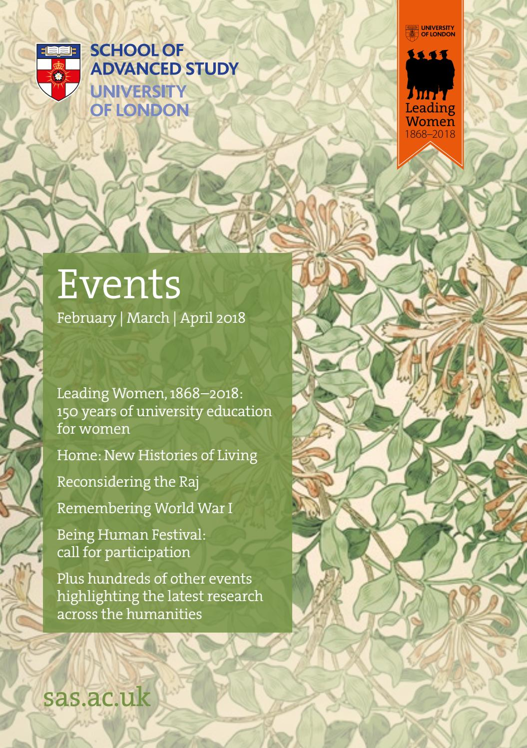 SAS Events Brochure February - April 2018 by School of