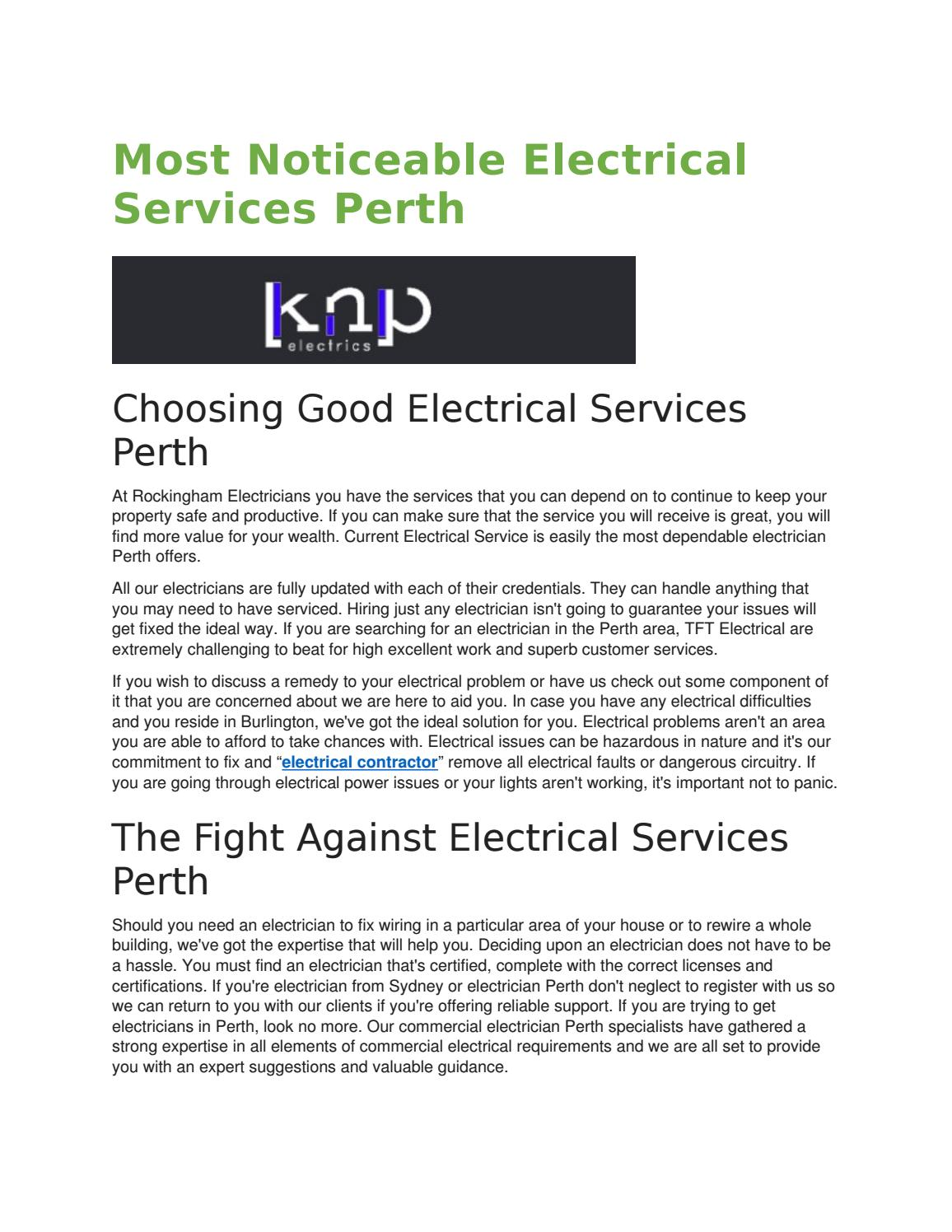 Most noticeable electrical services perth by beckyrblauvelt - issuu