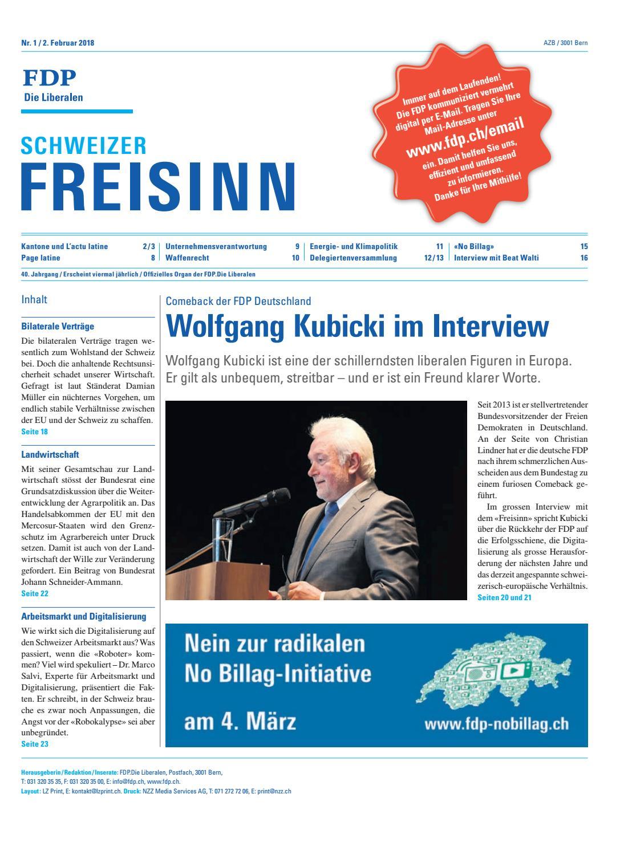 FDP. Die Liberalen Freisinn Februar 2018 by FDP.Die Liberalen - issuu