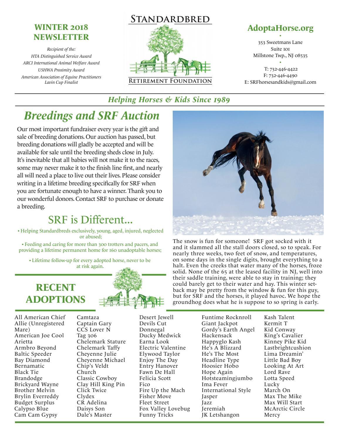 2018 Winter Newsletter - Standardbred Retirement Foundation