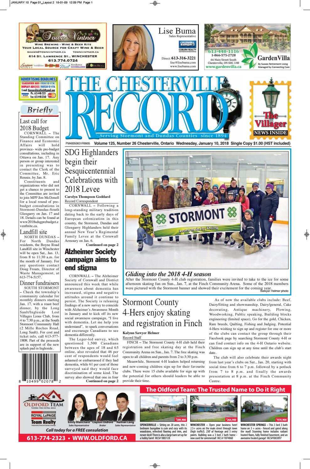 1cb273c7c4937 The Chesterville Record-January 10, 2018 by Robin Morris - issuu