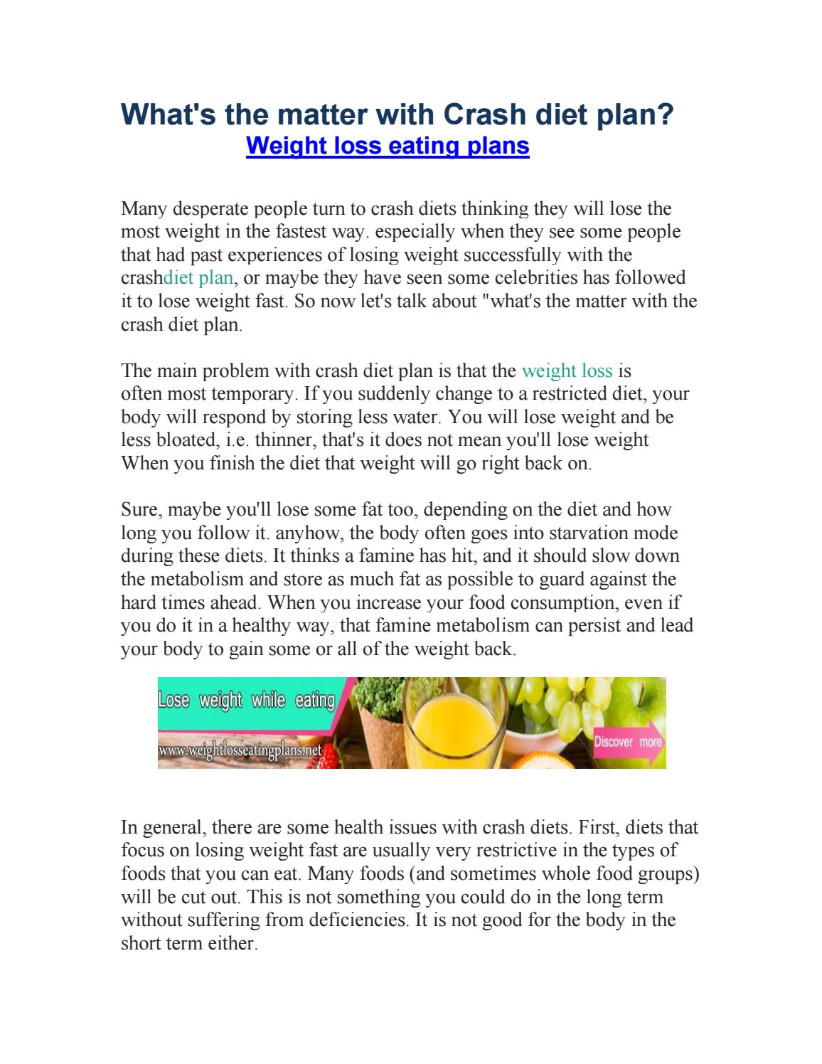 Whats The Matter With Crash Diet Plan By Nurris Issuu
