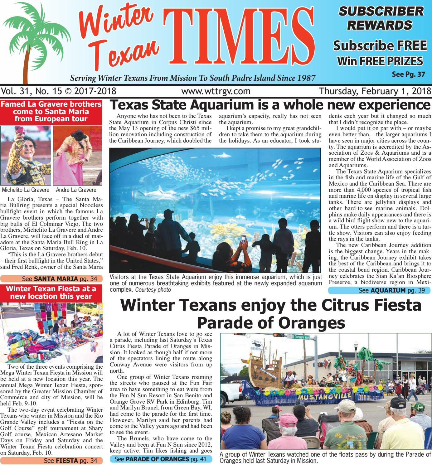 February 1, 2018 - WTT ISSUE by Winter Texan Times - issuu