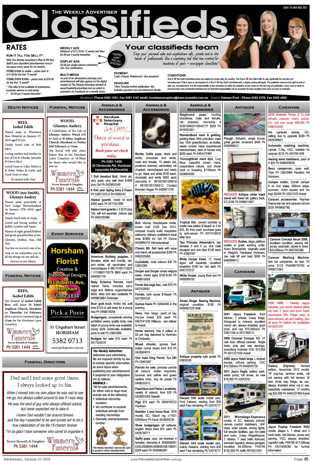 The Weekly Advertiser - Wednesday, January 31, 2018 by The