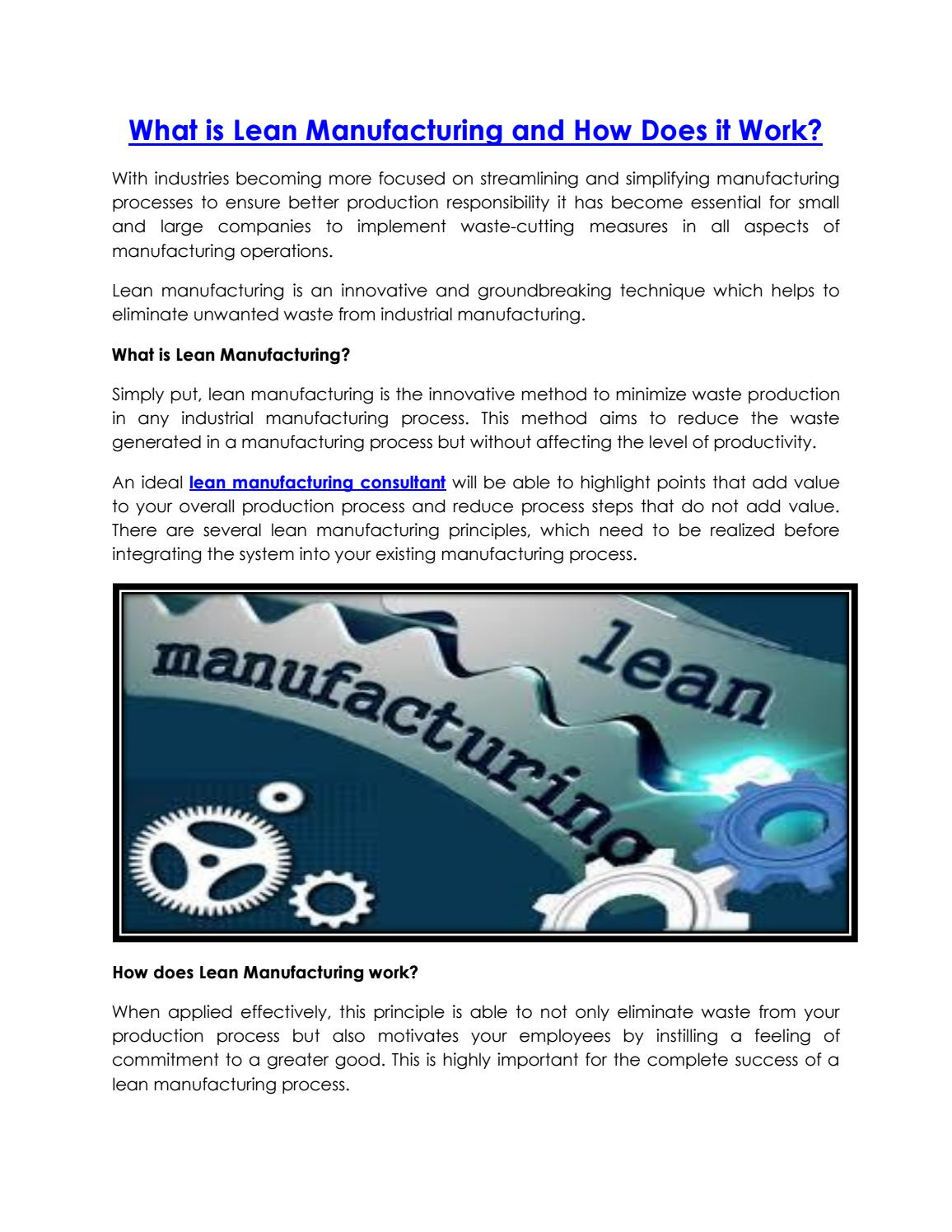What is lean manufacturing and how does it work by Ribcon