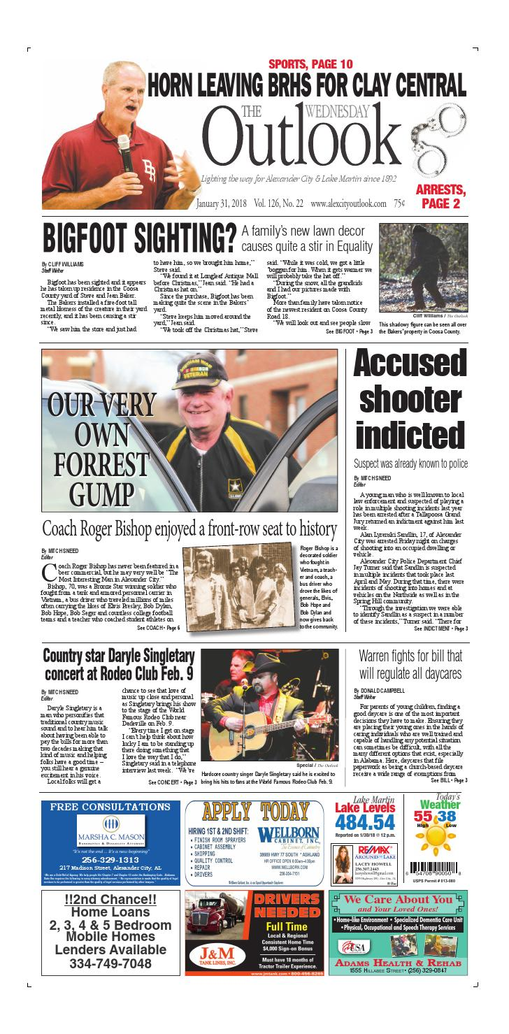 Jan  31, 2018 Alex City Outlook by Tallapoosa Publishers - issuu