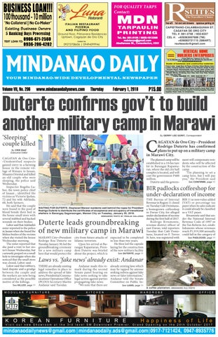 Mindanao Daily (February 1, 2018) by Mindanao Daily News - issuu