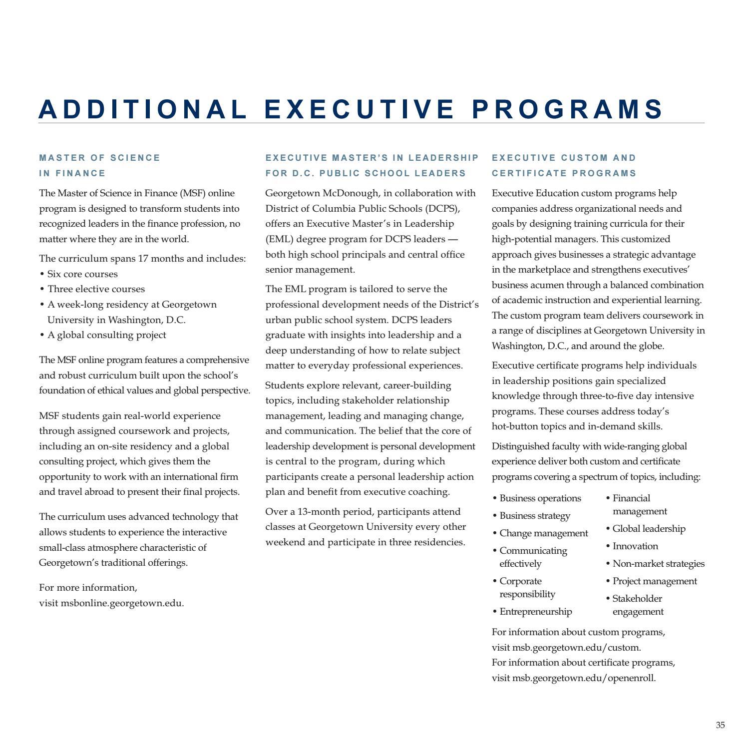 Georgetown McDonough Executive Degree Programs Brochure by