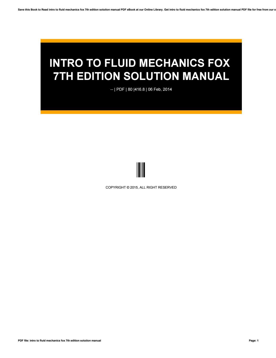 Intro to fluid mechanics fox 7th edition solution manual by caseedu11 -  issuu