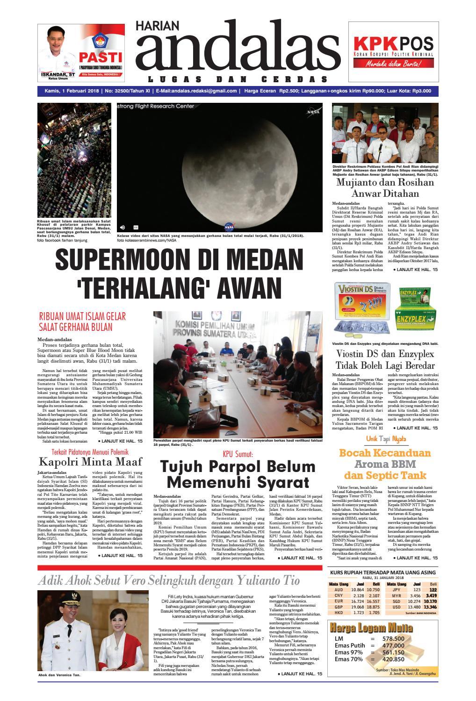 Epaper Andalas Edisi Kamis 1 Februari 2018 By Media Issuu Fcenter Meja Belajar Sd Hk 9004 Sh Jawa Tengah
