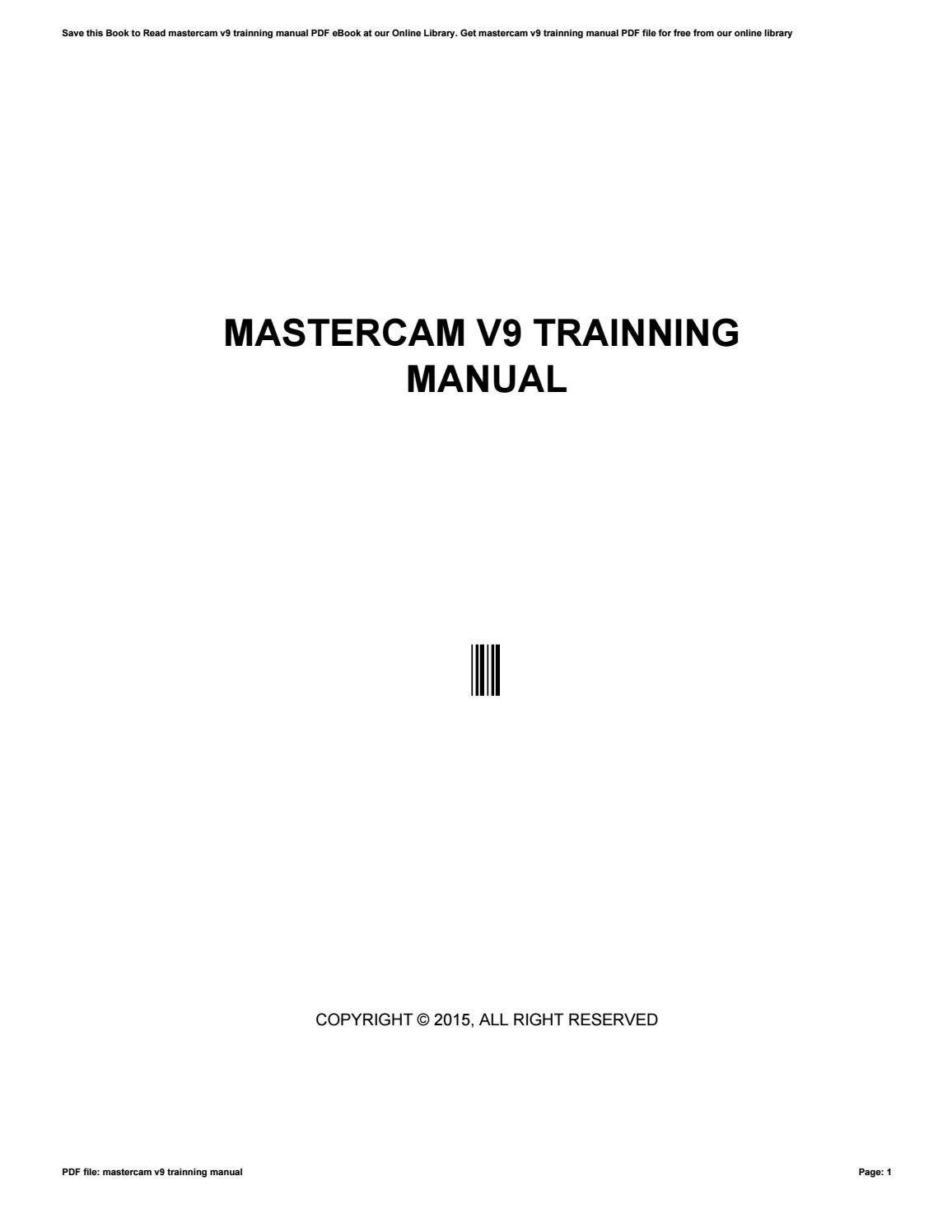 mastercam v9 trainning manual by i805 issuu rh issuu com manual de mastercam manual de mastercam en español pdf
