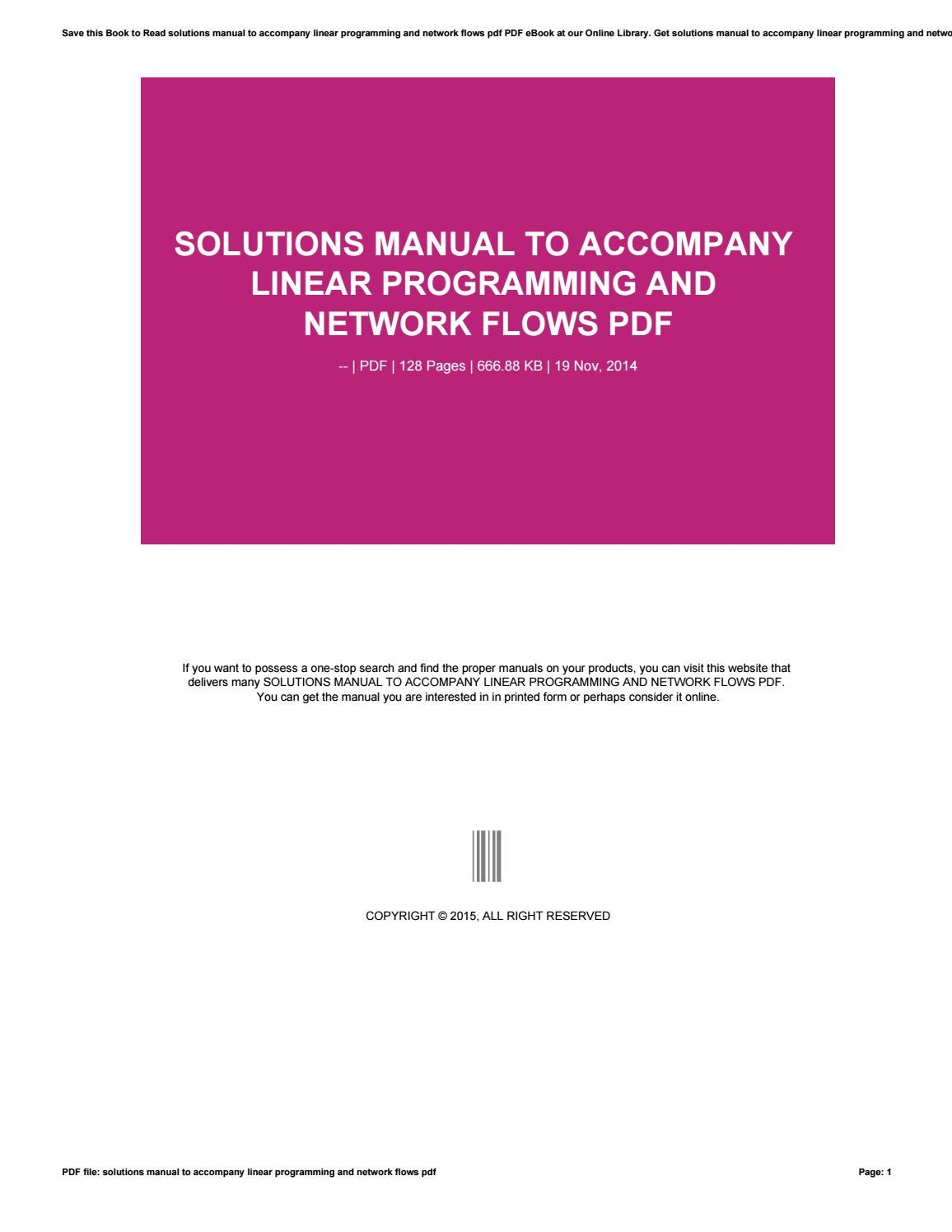 Solutions manual to accompany linear programming and network flows pdf by  freealtgen40 - issuu