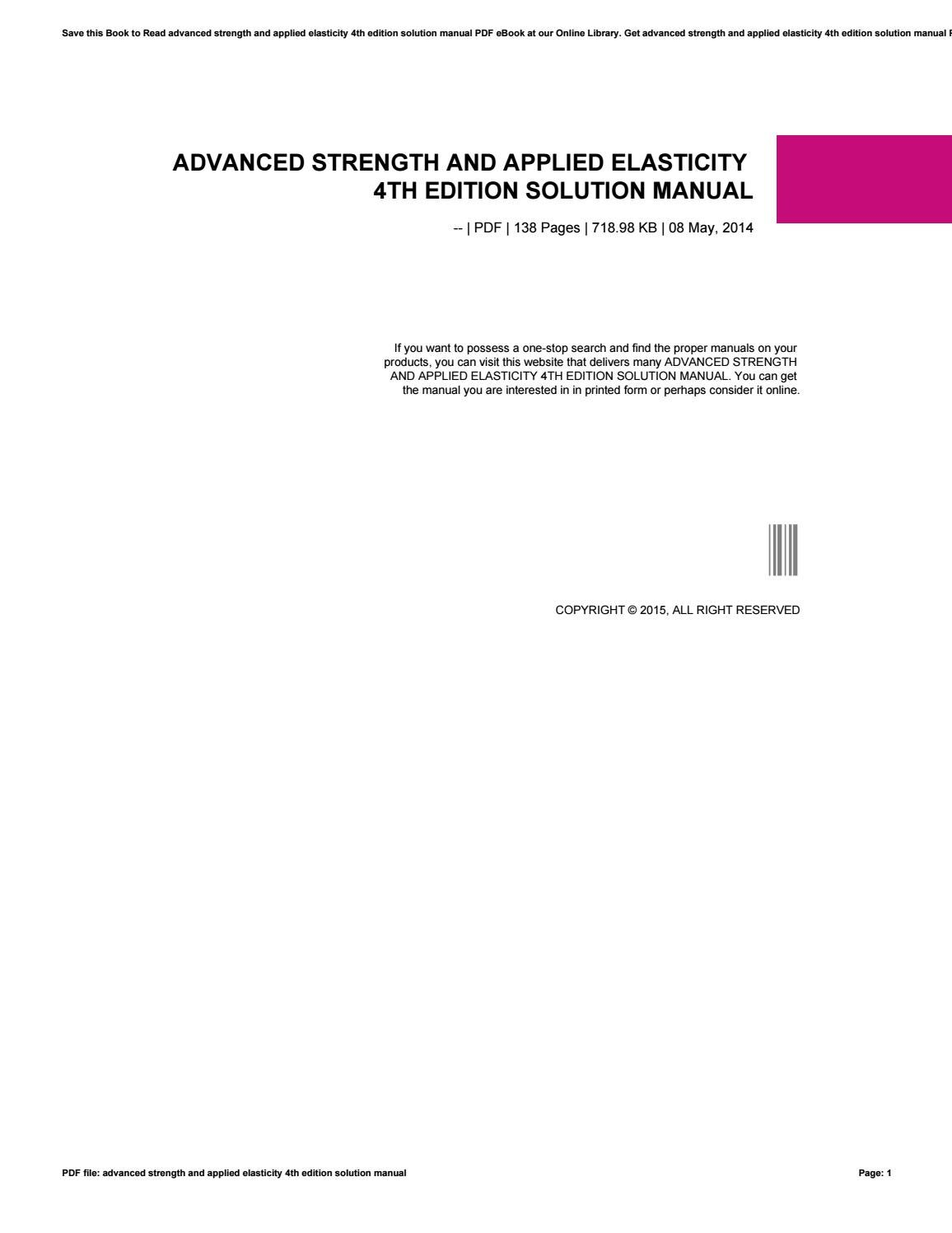 Advanced Strength And Applied Elasticity 4th Edition Solution Manual By Xww09 Issuu