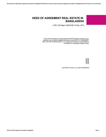 Deed Of Agreement Real Estate In Bangladesh By Te325 Issuu