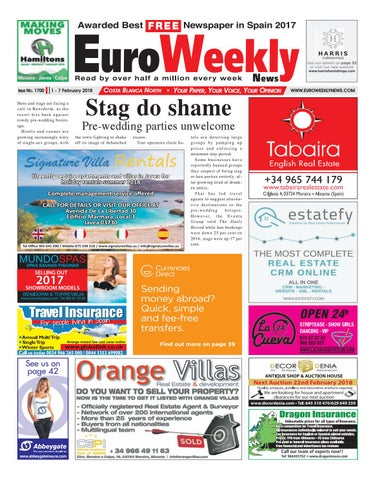 Euro weekly news costa blanca north 1 7 february 2018 issue 1700 page 1 fandeluxe Gallery
