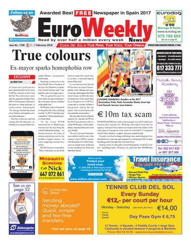 Euro weekly news costa del sol 1 7 february 2018 issue 1700 by page 1 fandeluxe