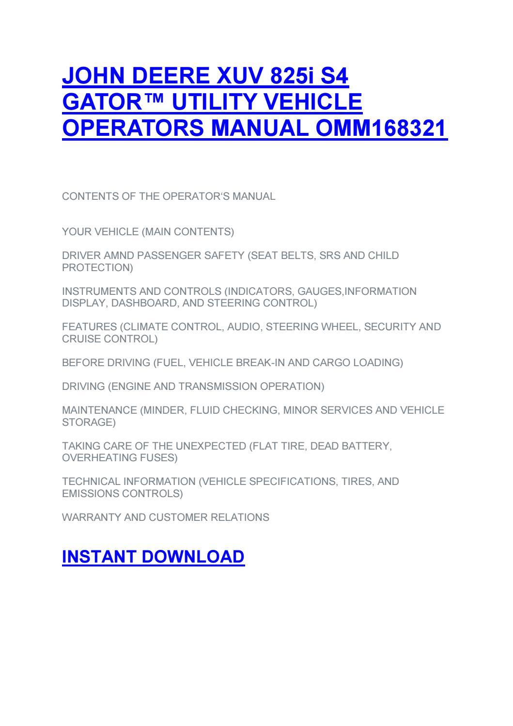 John deere xuv 855d gator™ utility vehicle operators manual omm166784 by  Todd Gilbert - issuu