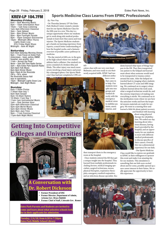 Estes Park News, February 2, 2018 by Estes Park News, Inc