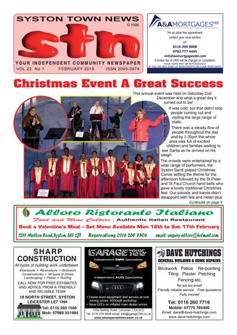 Syston Town News Your Independent Community Newspaper February 2018