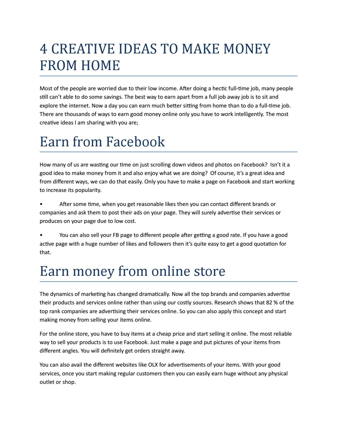 4 creative ideas to make money from home by Game Guardian - issuu