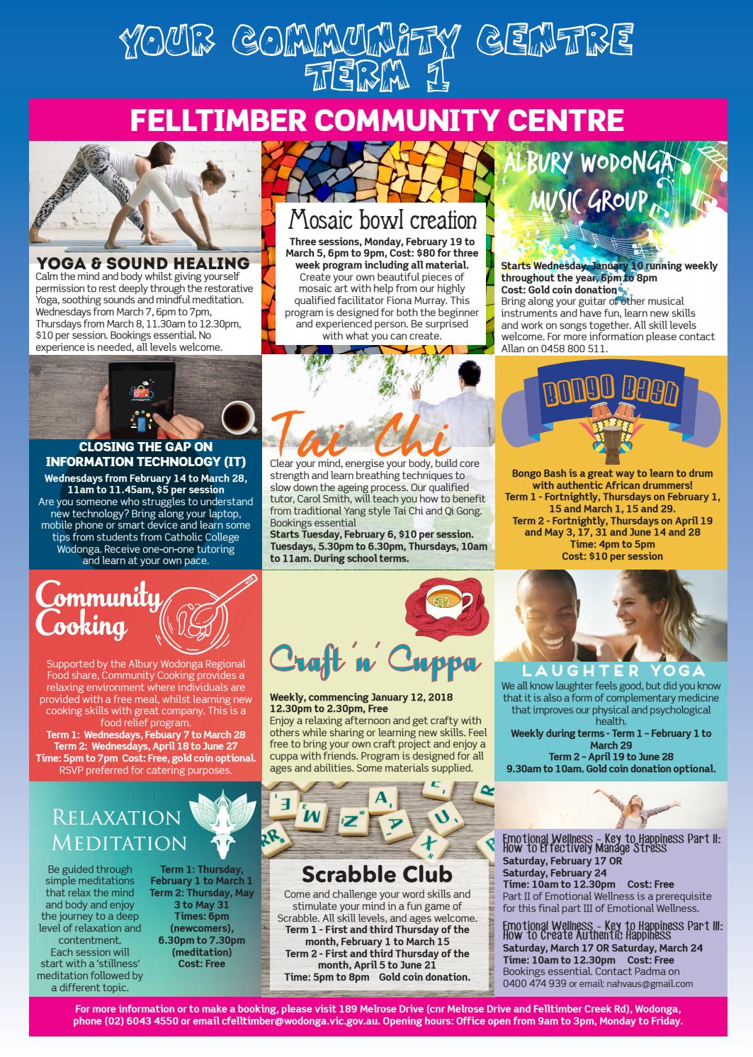 Community Centre Course Guide - Term 1, 2018 by Wodonga