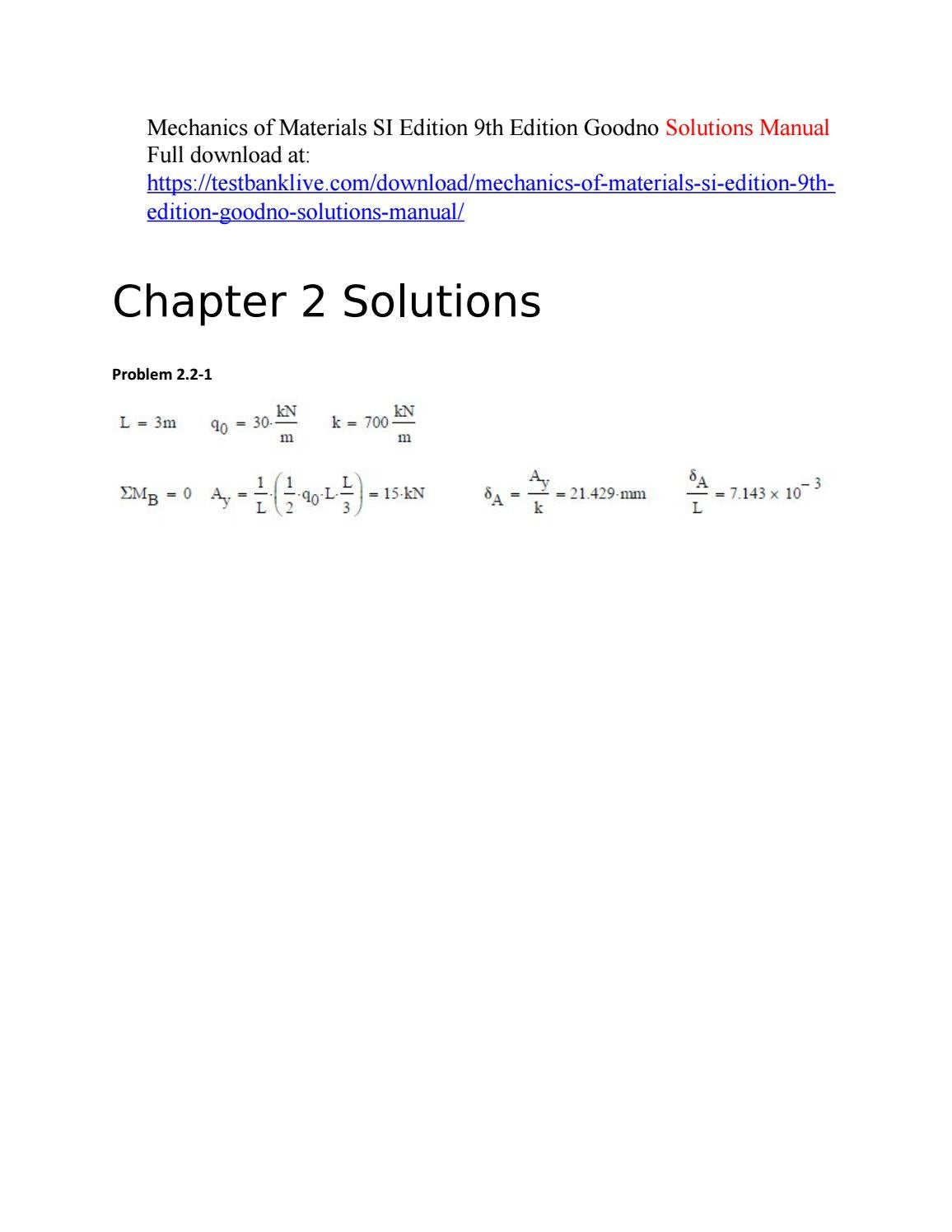 Mechanics of materials si edition 9th edition goodno solutions manual by  Lala7616 - issuu