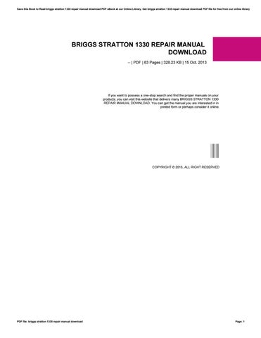 Briggs Stratton 1330 Repair Manual Download By