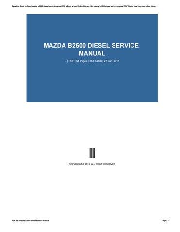 free mazda b2500 repair manual
