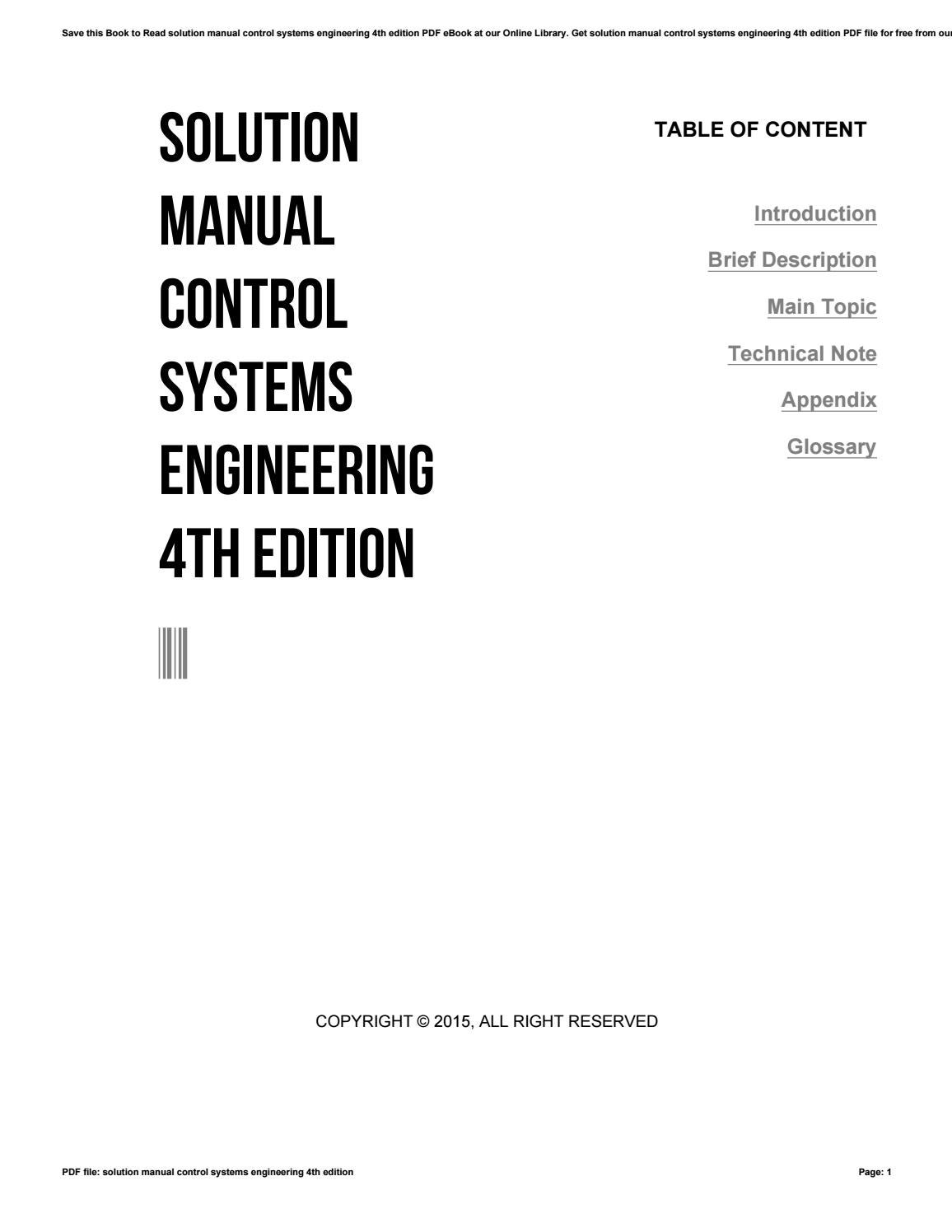 Solution manual control systems engineering 4th edition by 4tb683 - issuu