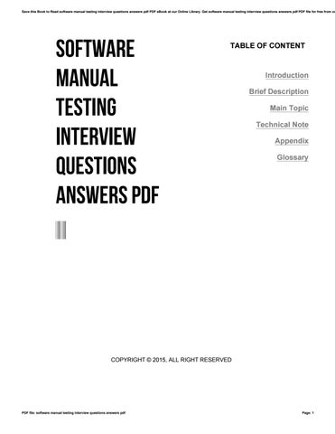 software manual testing interview questions answers pdf by 4tb683 rh issuu com manual testing ebook manual testing ebook
