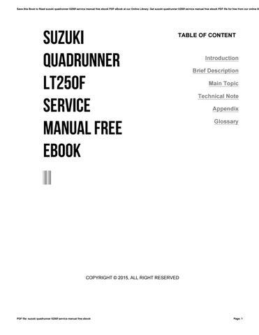 suzuki quadrunner lt250f service manual free ebook by ty780 issuu rh issuu com 1996 Suzuki Quadrunner 250 1992 Suzuki Quadrunner 250