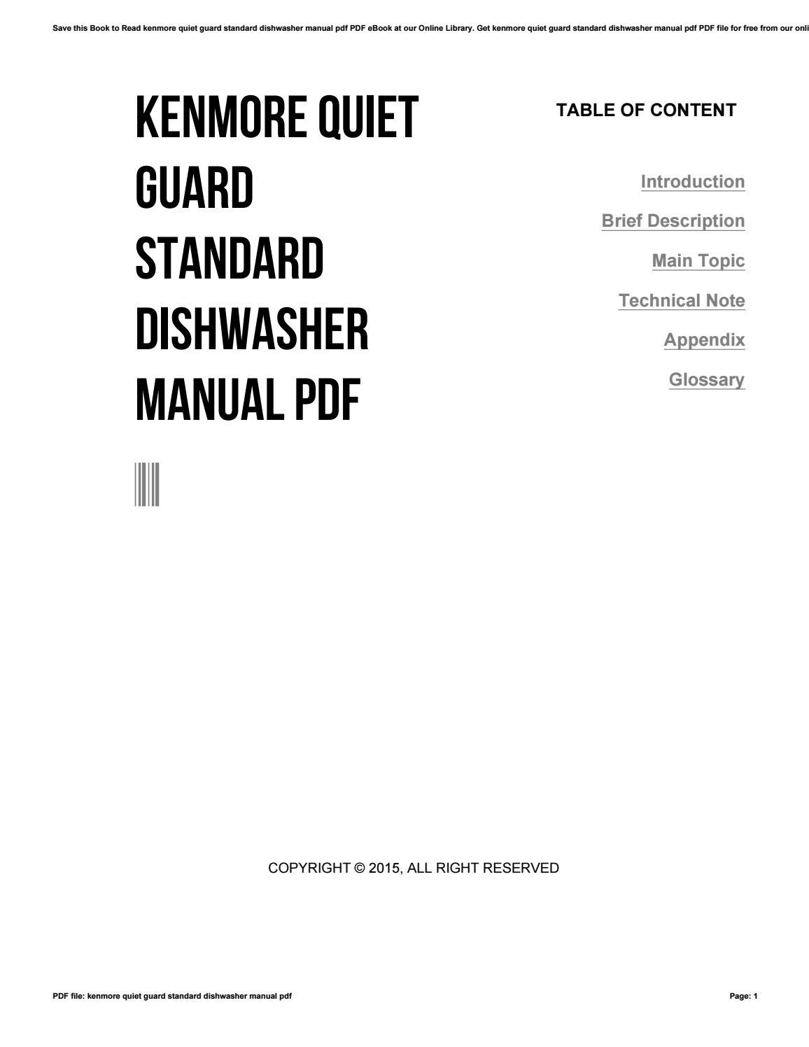 kenmore quietguard standard dishwasher manual