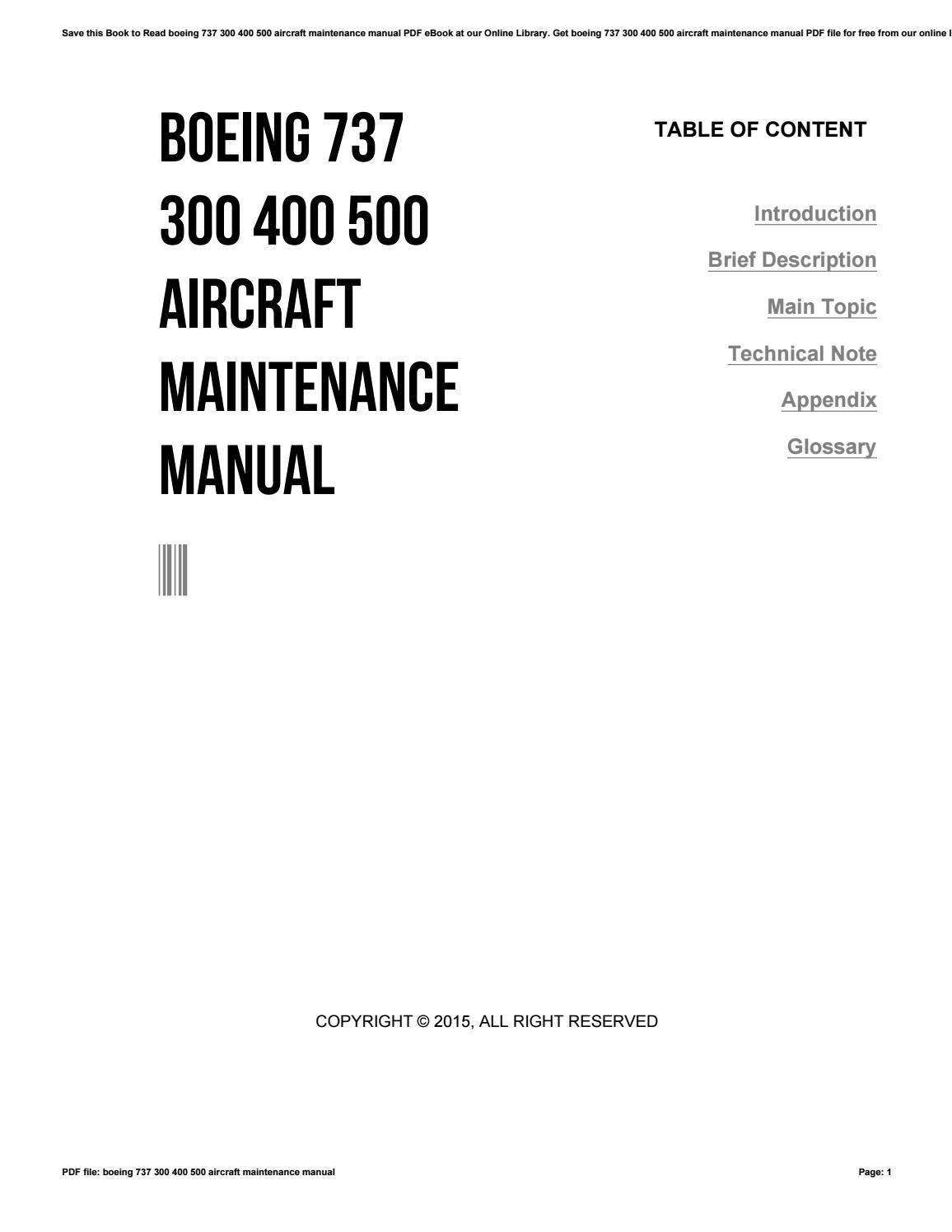 boeing 737 300 400 500 aircraft maintenance manual