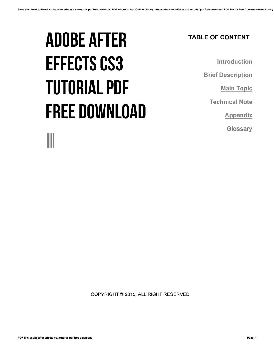 Adobe after effects cs3 tutorial pdf free download by